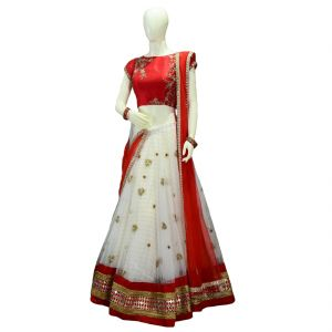 Buy Desinger White Net Embroidered Semi-stitched Lehenga, Malbarry Silk Choli Materials online