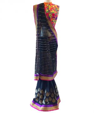 Buy Designer Black Georgette   Net With Sequence   Embroidery Work Saree online