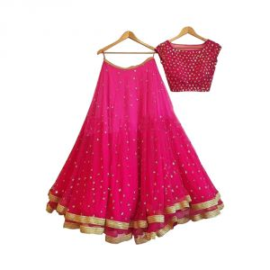 Buy Bhumik Enterprise Women Georgette Anarkali Semi-stitched Lehenga Suit (code - Be10658) online