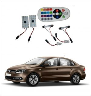 Buy Trigcars Volkswagen Vento 2 X 16 Colors Rgb Bright 5050 LED Car Roof Dome Light Festoon T10 IR Remote online