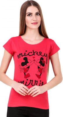 Buy Waiverson Printed Round Neck Short Sleeve Cotton T-shirts For Women (Peach) online