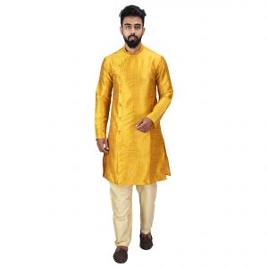 Buy Angrakha Cotton Silk Regular Fit Self Design Kurta Pajama Set ( Code - Bckuset007) online