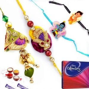 Buy Rakhi Gifts To India-family Rakhi Set (code - Ssj014) online