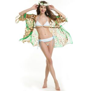 Buy Fascinating LingerieSizzling Green Leopard Print Beach Cover-Beach Dress online