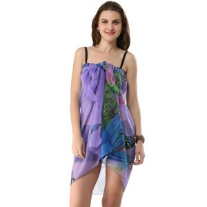 Buy Fascinating Lingerie-Irresistible Multi Purple Butterfly retro print Wrap online