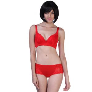 bfc33b5ac4 Fascinating Lingerie - Alluring Embroidered Fascinating Red Bra With Matching  Panty Set