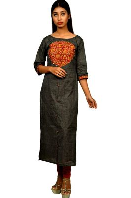 Buy Sameeya Women's Khadi Cotton with Kalamkari Patchwork Straight Pattern Kurti online