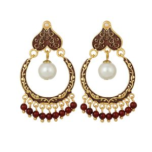 Buy Piah Kundan Chand Bali White Pearl  Maroon Beads Earrings for Women online