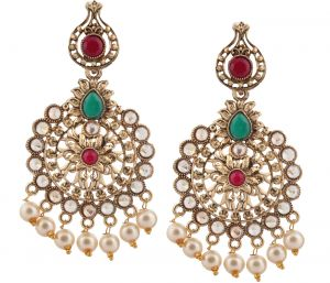 6343e2e2b00 Piah Fashion Gold Plated Trendy Green Color Party Wear Long Designer  Dangler Earring for Womens And Girls