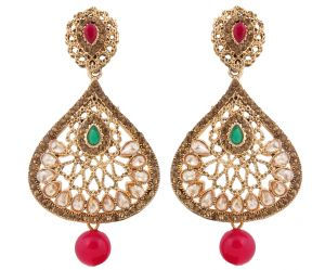 Buy Piah Fashion Gold Plated Trendy Green & Pink Color Party Wear Long Designer Dangler Earring for Womens And Girls' online