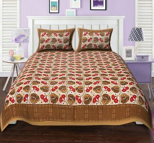 Buy Texstylers premium 104 TC Double Bedsheet 100% Cotton Printed Bedsheet for Bedroom with 2 Pillow Covers online