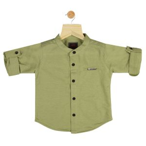 Buy Gusto Baby Boy's Solid Green Cotton Blend Full Sleeved Shirt online