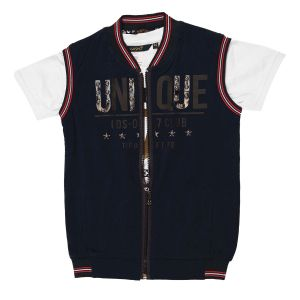 Buy Gusto Boy's Navy Blue Poly Cotton Sleeveless Casual Jacket with Inner Tee online