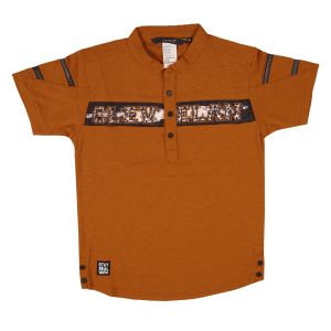 Buy Gusto Rust Poly Cotton Round Neck Half Sleeved T_Shirt for Boys online