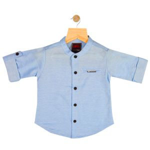 Buy Gusto Baby Boy's Solid Sky Blue Cotton Blend Full Sleeved Shirt online