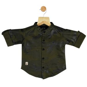Buy Gusto Baby Boy's Olive Cotton Blend Camouflage Printed Full Sleeved Shirt online