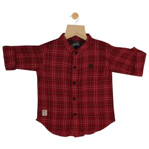 Buy Gusto Baby Boy's Red Linen Plaids Mandarin Collar Full Sleeved Shirt online