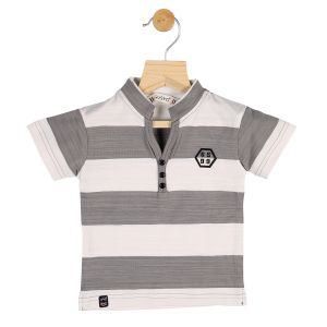 Buy Gusto Baby Boy's Grey Cotton Stripes Printed Half Sleeved T_Shirt online