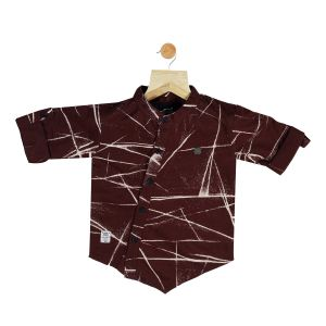 Buy Gusto Baby Boy's Maroon Cotton Blend Printed Full Sleeved Shirt online