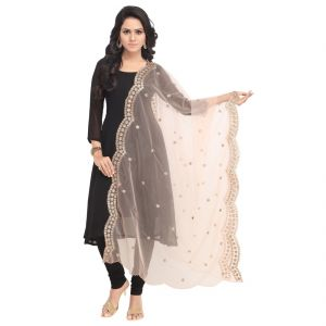 Buy Fabric and Lace Embroidery Lace with Sequence Butta Design Net Dupatta online
