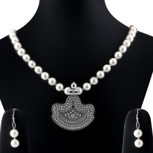 Buy Silvershine Amazing Oxidised Pendant White Pearl Jewellery Set For Women online