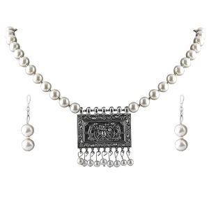 Buy Silvershine Elegant Oxidised Pendant White Pearl Jewellery Set For Women(coad-nm-1294) online