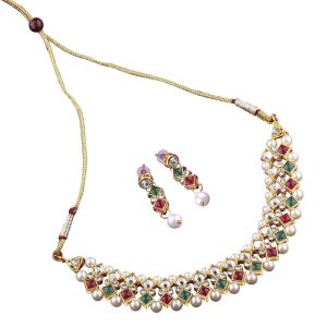 Buy Multicolour Studded Necklace Set For Women.(code-nm-1370) online