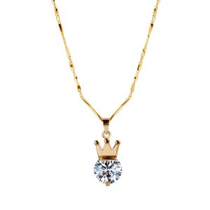 Buy Gold Plated chain With Crown Shape Solitaire Diamond Pendant For Women online