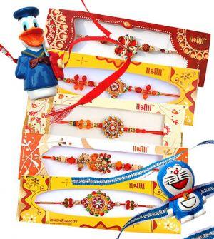Buy Set Of Zardosi And Kid Rakhi Gifts online