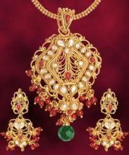 Buy jewellery 1 gram gold forming polki pendant set online best buy jewellery 1 gram gold forming polki pendant set online aloadofball Images