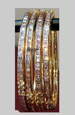 Buy Gold Formed Jewellery Cz Bangles online