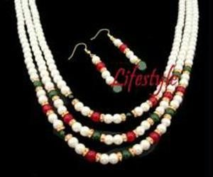 Buy 3 Line Party Wear Ethnic Shell Pearl Set. online