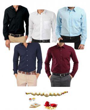 Buy Rakhi Exclusive....men's Assorted Formal Shirts- Pack Of 5 online