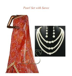 Buy Exclusive Pearl Set With Saree online