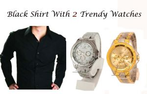 Buy Black Shirt With 2 Trendy Watches ..109 online