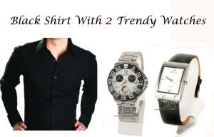 Buy Black Shirt With 2 Trendy Watches...114 online