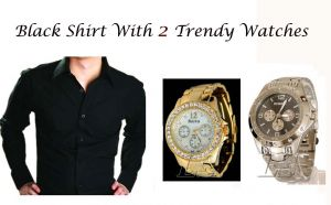 Buy Black Shirt With 2 Trendy Watches..118 online