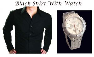 Buy Stylish Black Shirt With Stylish Watch...101 online