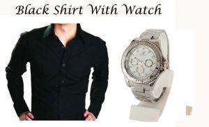 Buy Stylish Black Shirt With Stylish Watch...106 online