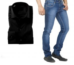Buy Buy Branded Blue Jeans And Get Black Full Sleeves Shirt Free online