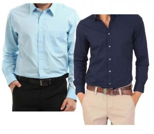 Buy Buy Light Blue Shirt & Get Navy Blue Shirt Free - Lslbnb3 online