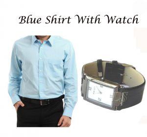 Buy Stylish Blue Shirt With Stylish Watch ...102 online