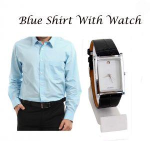 Buy Stylish Blue Shirt With Stylish Watch...114 online