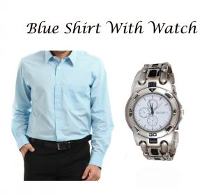Buy Stylish Blue Shirt With Stylish Watch...119 online