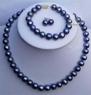 Buy Grey Shell Pearl Mala And Earrings. online