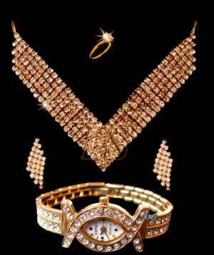 Buy Heavy Party Wear American Diamonds Set With Watch online