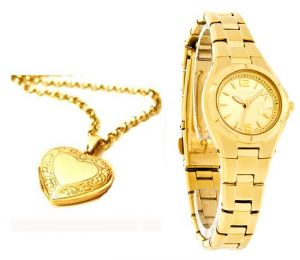 Buy Heart Photo Pendant With Gold Plated Watch online