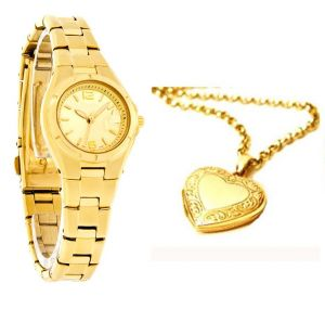 Buy Gold Plated Watch With Heart Photo Pendant online