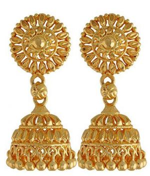 22 Crt Gold Formed Heavy Ethnic Jhumkas Earrings Online