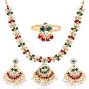 Buy Gold Plated Ad Necklace-earring-ring Set For Gifting online
